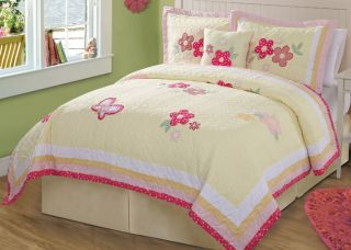 Pink Yellow Butterfly Polka Dot Girl Twin Bed in A Bag