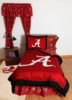 ALABAMA CRIMSON TIDE BED IN BAG & CURATIN & VALANCE   WHITE OR TEAM