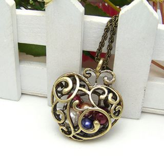 vintage jewelry necklace chain copper heart pearl colors ball pendant