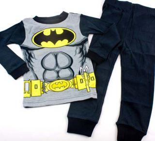 Batman DC Boys Pajamas Costume Pants Shirt Size 4 6 8 Muscle Print