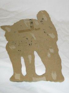 Vintage Cardboard Foil Halloween Black Cat Die Cut 50s T22