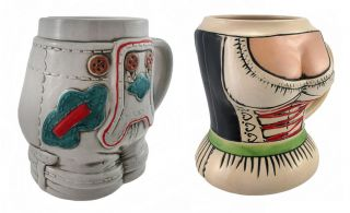German Stoneware Dirndl and Lederhosen Beer Steins Mugs Half Liter