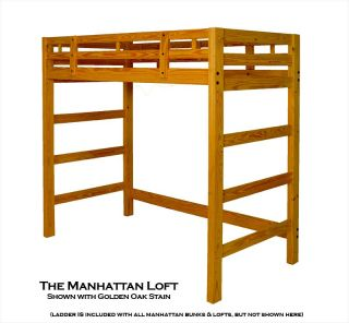 Extra Tall Twin Wood Loft Bed Frame Golden Oak Stain
