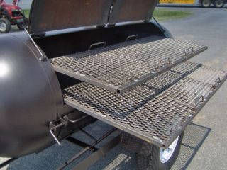 BBQ Pit Smoker Competition Grill Trailer Double Racks Barrel Barbecue