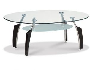 Contemporary Glass Top Round Occasional Coffee Table