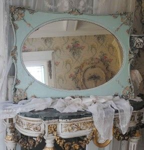 Large Old French Wall Mirror Barbola Gesso Roses Details Beading Oval