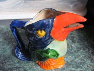 Art Deco Colorful Large Parrot Bird Beek Spout Milk Jug Pitcher