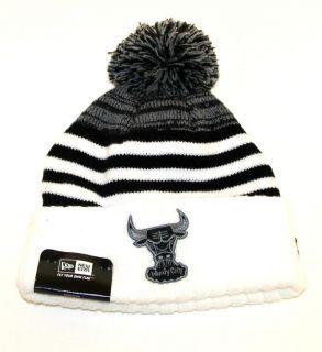 CHICAGO BULLS BLACK WHITE SNOWFALL STRIPE BEENIE BEANIE STOCKING CAP