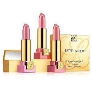 Estee Lauder 3 Pure Color Crystal Lip Jewels Lipsticks Pop up Mirror 8