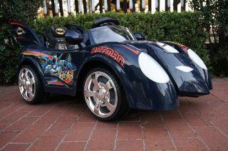 Kids Battery Powered Ride on Toy Batman Blue Car Batmobile Remote