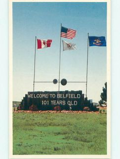 1990 TOWN SIGN SAYS 101 YEARS OLD Belfield North Dakota ND v5878
