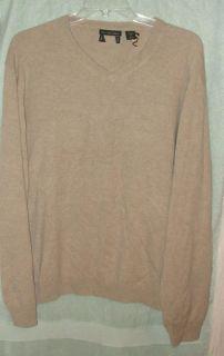 Belk Beige 2 Ply Cashmere V Neck Sweater XXL NWOTS