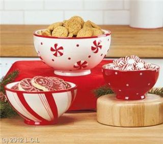 Set of 3 Christmas Holiday Festive Earthenware Serving Bowls