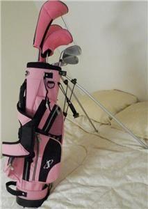 Tour Edge Bazooka Jr Max Girls Golf Clubs Set Pink Bag w/ Stand Junior