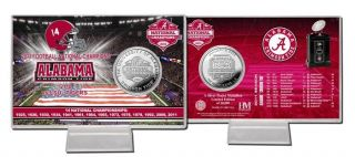 Alabama Crimson Tide 2011 BCS National Champions Silver Coin Card w