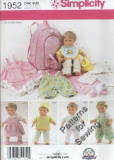 Pattern Simplicity 15 inch Doll Clothes Fit American Girl Baby Twin