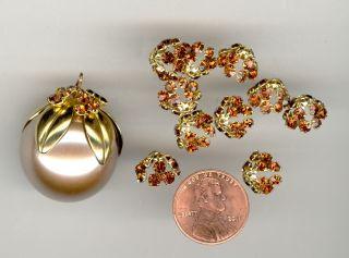 Swarovski Smoke Rhinestone Crystal Gold Tone Pliable Bead Caps