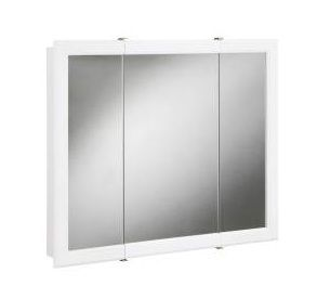 Bathroom Vanity Tri View Mirror Wall Cabinet White Frame 30 Surface
