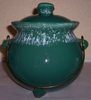 McCoy Pottery Green w White Driip Bean Pot