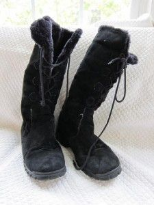 Khombu Bellino Tall Black Suede Shearling Lined Lace Up Winter Boot 9