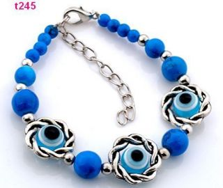 Eye Tibetan Silver Colorful Beaded Charm Feature Bracelet T245