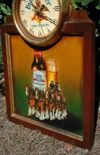 Old Budweiser Beer Clock Eagle Clydesdales Horses Wall Art Sign Tavern
