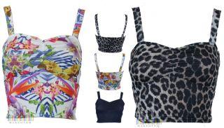Women Beach Boobtube Bra Floral Crop Vest Animal Leopard Print