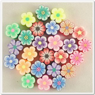 PCS Mixed Color Fimo Polymer Clay Plum Blossom Flower Slice Beads 12mm