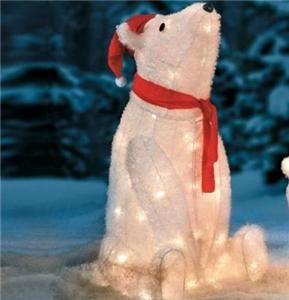Holiday Decor Lighted CHRISTMAS SANTA POLAR BEAR Yard Art Display NEW