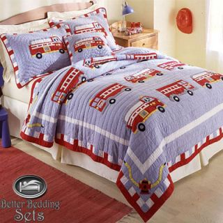 Fire Truck Engine Quilt Bedding Set for Twin Full Queen Size