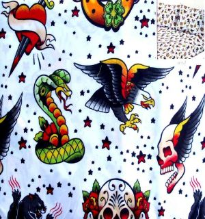 TATTOOS FLYING SKULLS DAGGER HEARTS 3PC TWIN SHEETS BEDDING SET NEW