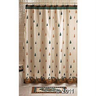 In The Woods Bath Shower Curtain Towels Rug Accessory Set Bear Moose