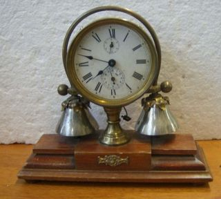 German antique decorative boudoir bedroom alarm clock wood metal