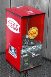 Vintage Toy N Joy Coca Cola Themed Vending Machine Gumball Coke Decal