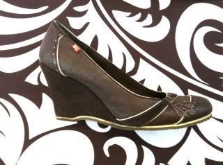 40s Style BC footwear leather wedges heels brown cream shoes CUTE