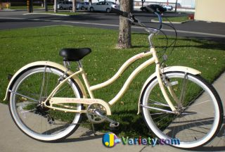 Beach Cruiser Bicycle Micargi Pantera 26 Shimano 7 Speed Womens