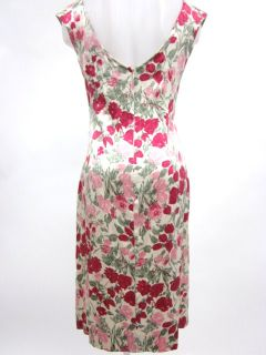 Luisa Beccaria Ivory Floral Print Sleeveless Dress 44