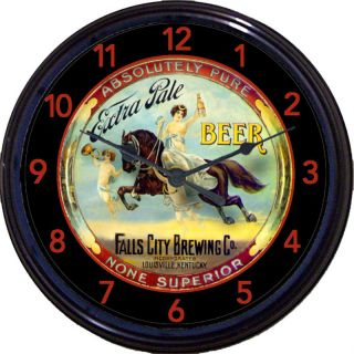 FALLS CITY BREWING COBEER TRAY CLOCK LOUISVILLE, KY HORSE ANGELS ALE
