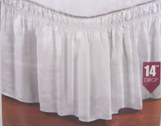 Wrap Around Bed Dust Ruffle Skirt Twin Full Queen King White Offwhite