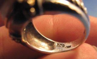 Samuel B Benham Sterling Silver 14k Gold White Stone Ring Signed BJC