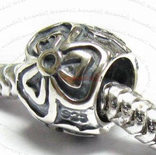 Sterling Silver Round Rose Flower Bead European Charm Bracelets