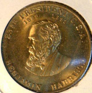Benjamin Harrison Mint Version 1 Commemorative Bronze Medal Token Coin