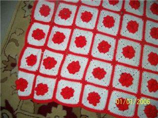 Crocheted AFGHAN Throw Blanket Bedding Throw RED WHITE FLOWERS E