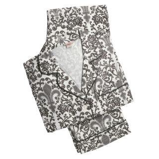Bedhead Large Black White Fleur de Lis Flannel Pajamas