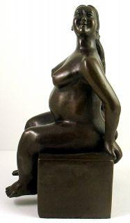 Botero Tribute Bronze Sculpture Bella Donna Sitting Woman