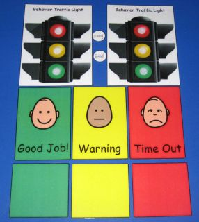 Behavior Traffic Light Chart Card Set Autism Pecs ABA