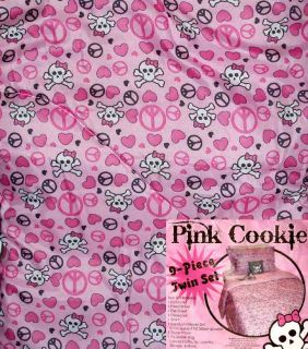 PEACE HEARTS PINK TWIN COMFORTER SHEETS SHAM 9PC BEDDING SET NEW