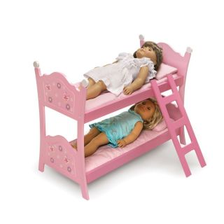 Pink Bunk Bed Beds with Ladder Bedding for American Girl Doll New Gift