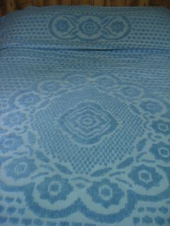 Country Blue Chenille Bedspread Flowers Queen Full 96 x 96