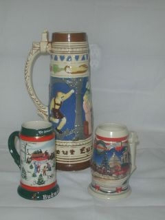 Ceramic Beer Steins 2 BUDWEISER 1 HOLLAND MOLD VERY NICE No lids